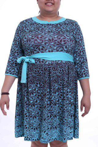 Graceful Round Collar 3/4 Sleeve Floral Print Plus Size Midi Dress For Women