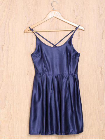 Hot Spaghetti Strap Cross-Back Low-Cut Ball Gown Dress - S PURPLISH BLUE Mobile