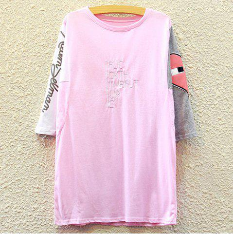 Latest Chic Round Neck Half Sleeve Letter Print Appliqued Women's T-Shirt