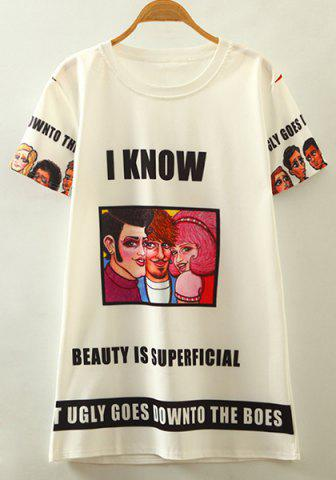 Buy Chic Round Neck Short Sleeve Cartoon Character Print Women's T-Shirt