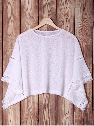 Sale Stylish Batwing Sleeve White Hollow Out Fringed Women's Blouse