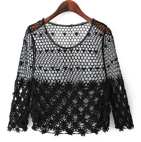 Hot Stylish Scoop Neck Hollow Out 3/4 Sleeve Women's Blouse BLACK ONE SIZE(FIT SIZE XS TO M)
