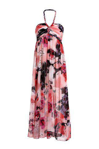 Outfits Fashionable Halter Sleeveless Printed Pleated Women's Dress