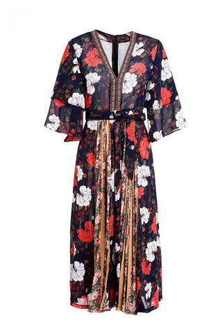 Outfits Fashionable V-Neck 3/4 Sleeve Floral Print Spliced Women's Dress