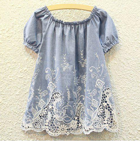 Sale Cutwork Ruffle Tiny Floral Embroidered Blouse DENIM BLUE ONE SIZE(FIT SIZE XS TO M)