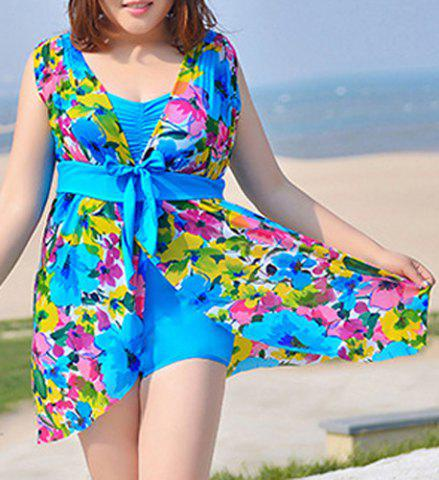 Outfits Fashionable Plus Size Floral Print One Piece Women's Swimwear