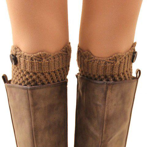 Hot Pair of Chic Button Embellished Hollow Out Mesh Shape Knitted Boot Cuffs For Women COLOR ASSORTED