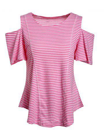 Cheap Cold Shoulder Striped Tee