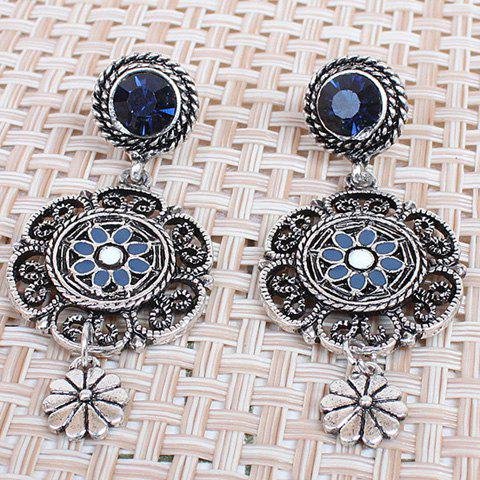 Discount Pair of Hollow Out Rhinestone Flower Earrings