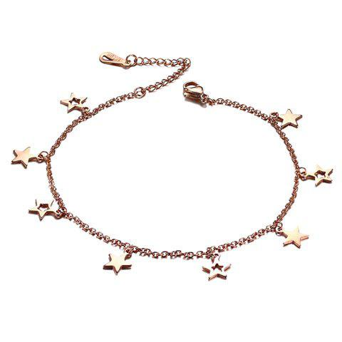 Fashion Stylish Pentagram Hollow Out Anklet - GOLDEN  Mobile