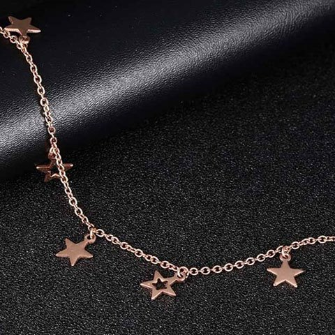 Chic Stylish Pentagram Hollow Out Anklet - GOLDEN  Mobile