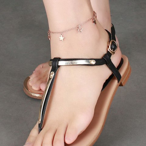 Cheap Stylish Pentagram Hollow Out Anklet - GOLDEN  Mobile
