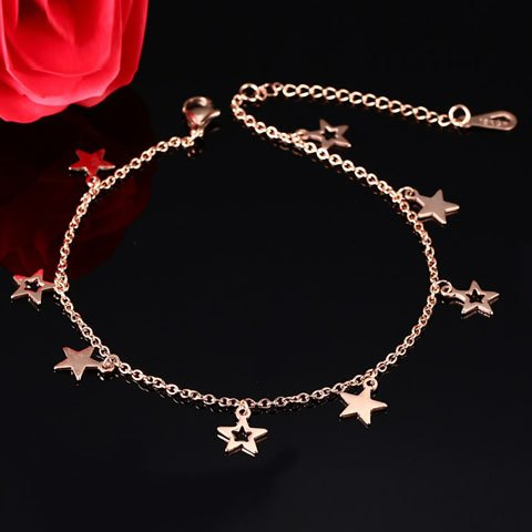 Outfit Stylish Pentagram Hollow Out Anklet - GOLDEN  Mobile