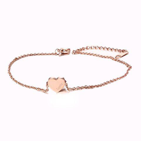 Cheap Letters Engraved Heart Anklet GOLDEN
