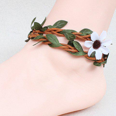 Chic Handmade Knitted Rattan Leaf Flower Girl Feet Anklet COLORMIX