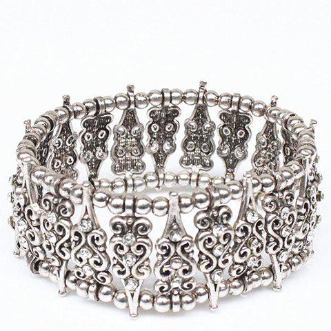 Shops Rhinestone Hollow Out Carving Bead Bracelet