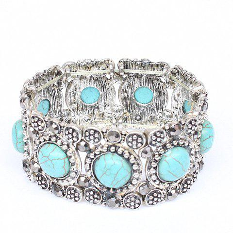 Online Round Faux Turquoise Carving Bracelet SILVER