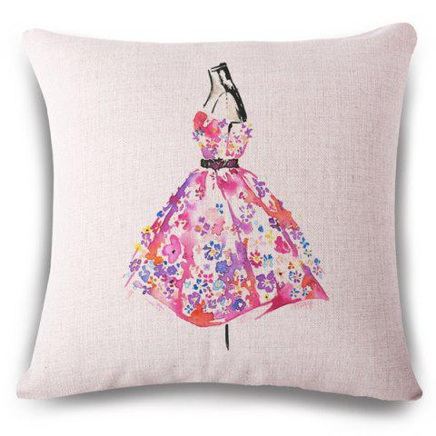Creative Floral Dress Watercolor Pattern Square Shape Flax Pillowcase (Without Pillow Inner) - COLORMIX
