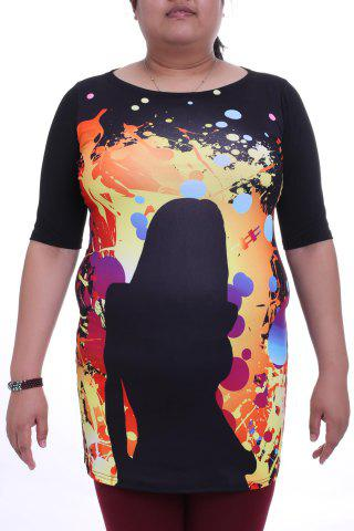 Outfit Stylish Round Collar 3/4 Sleeve Figure Pattern Plus Size Colorful Dress For Women