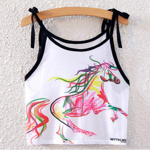 Fashion Horse Print Crop Spaghetti Strap Top