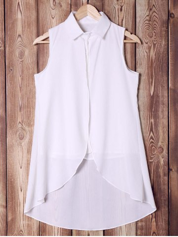 Chic Stylish Shirt Collar Pure Color High Low Women's Tank Top