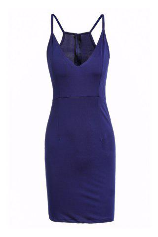 Unique Chic Plunging Neck Sleeveless Zipper Design Solid Color Skinny Women's Dress