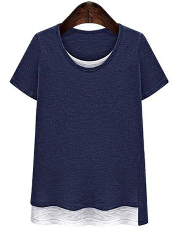 Buy Casual Plus Size Scoop Collar Short Sleeve Hit Color T-Shirt Faux Twinset For Women