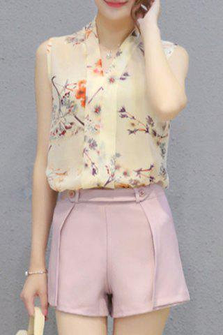 Outfit Ladylike V Neck Sleeveless Chiffon Top + Pure Color Shorts Twinset For Women
