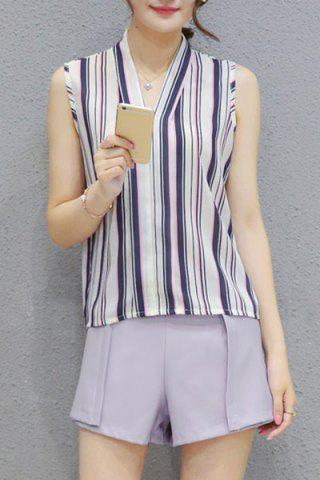 Unique Fashionable V Neck Sleeveless Striped Top + Solid Color Shorts Twinset For Women BLUE GRAY S