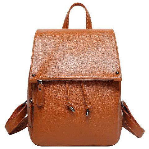 Shops Fashion Solid Color and Drawstring Design Satchel For Women - BROWN  Mobile