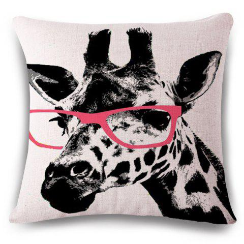 Hot Creative Giraffe Pattern Square Shape Flax Pillowcase (Without Pillow Inner)