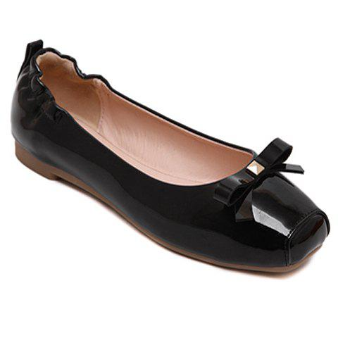 Discount Sweet Bowknot and Square Toe Design Flat Shoes For Women
