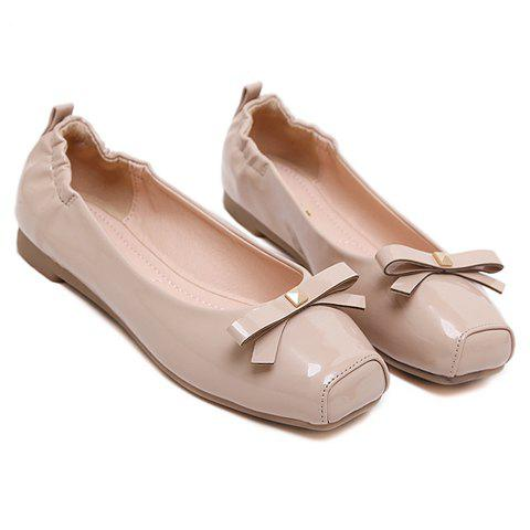 Online Sweet Bowknot and Square Toe Design Flat Shoes For Women - 35 APRICOT Mobile