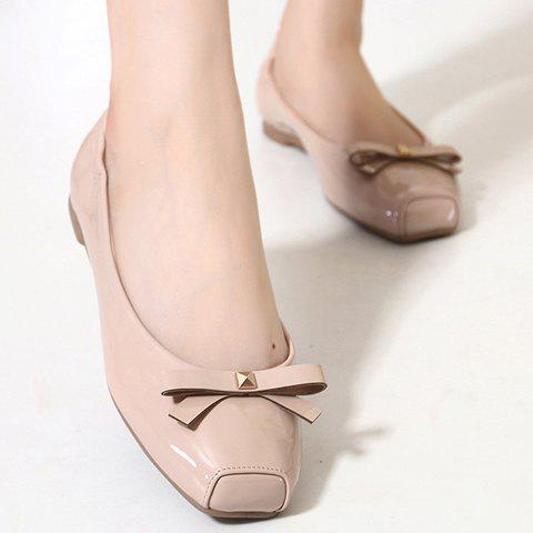 Sale Sweet Bowknot and Square Toe Design Flat Shoes For Women - 35 APRICOT Mobile