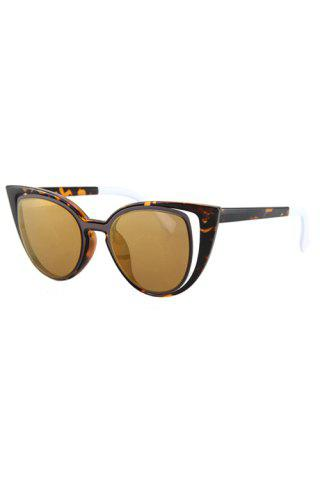 Sale Hollow Out Frame Flecky Faux Amber Polarized Sunglasses LIGHT BROWN