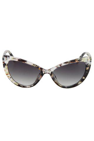 Fashion Audrey Hepburn Cat Eye Inlay Flower Sunglasses - LIGHT YELLOW  Mobile