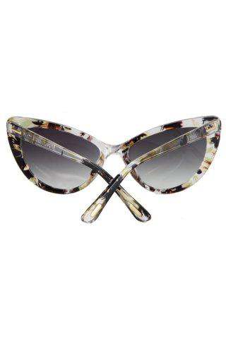 Cheap Audrey Hepburn Cat Eye Inlay Flower Sunglasses - LIGHT YELLOW  Mobile