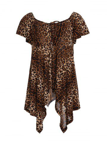 Sale Chic Square Neck Leopard Print Asymmetrical Women's T-Shirt