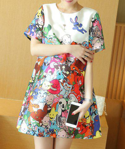 Latest Sweet Round Neck Cartoon Print Short Sleeve Dress For Women