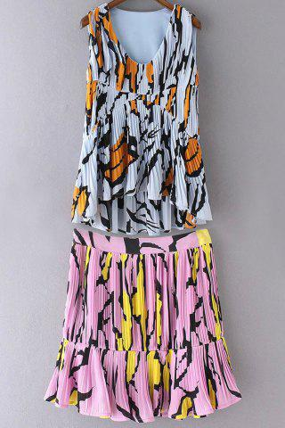 New Stylish High Waist A-Line Colorful Printed Women's Skirt and V Neck High-Low Women's Tank Top