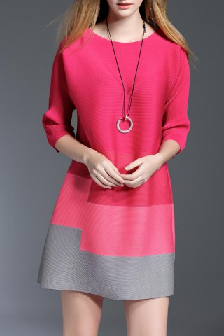 Cheap Mini A Line Color Block Dress