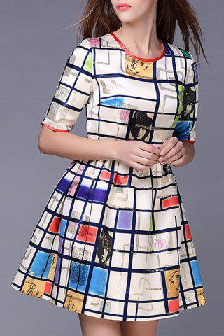 Fashion Character Print Plaid Dress