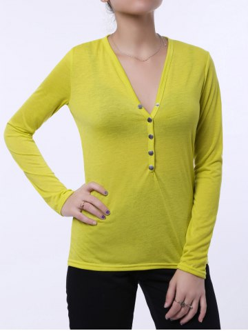 Yellow Elegant Plunging Neck Solid Color Long Sleeves T