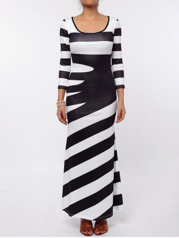 Affordable Maxi Scoop Neck Striped Evening Dress BLACK S