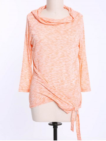 Shops Fashionable Off-The-Shoulder Solid Color Plus Size 3/4 Sleeve T-Shirt For Women ORANGE XL