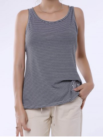 Online Stylish Scoop Neck Lace Splicing Striped Embroidery Tank Top For Women GRAY S