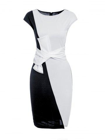 Shops Short Sleeve Bowknot Bodycon Dress WHITE AND BLACK XL