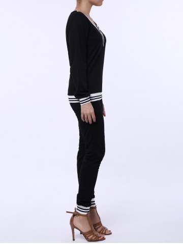 Trendy Fashionable V-Neck Long Sleeve Striped Sweatshirt + Fitted Pants Twinset For Women - S BLACK Mobile
