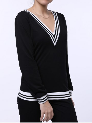 Latest Fashionable V-Neck Long Sleeve Striped Sweatshirt + Fitted Pants Twinset For Women - L BLACK Mobile