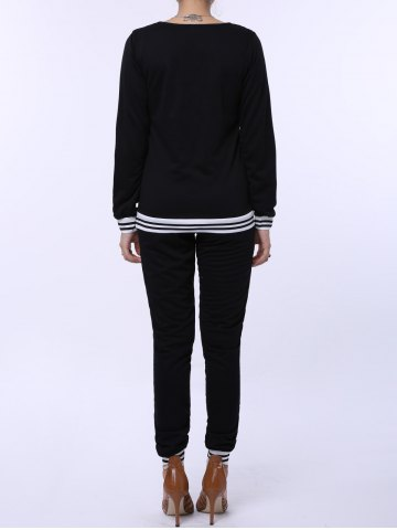 Online Fashionable V-Neck Long Sleeve Striped Sweatshirt + Fitted Pants Twinset For Women - L BLACK Mobile
